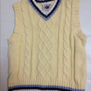 Yellow Easter cable sweater vest
